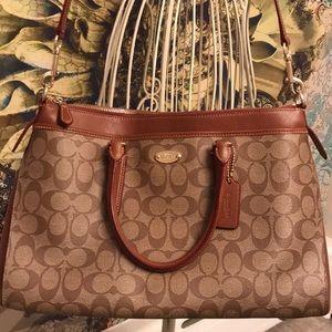 Coach signature khaki leather carryall tote 👜